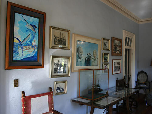 Ernest Hemingway Home in Key West showing paintings