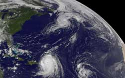 Hurricanes over Caribbean and Atlantic