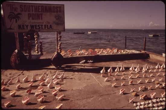Sign from the early 1970's of the Southernmost Point, in Key West, Florida